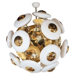 Large White Opaque Glass and Brass Flat Sphere Sputnik Chandelier, Italy, 2019
