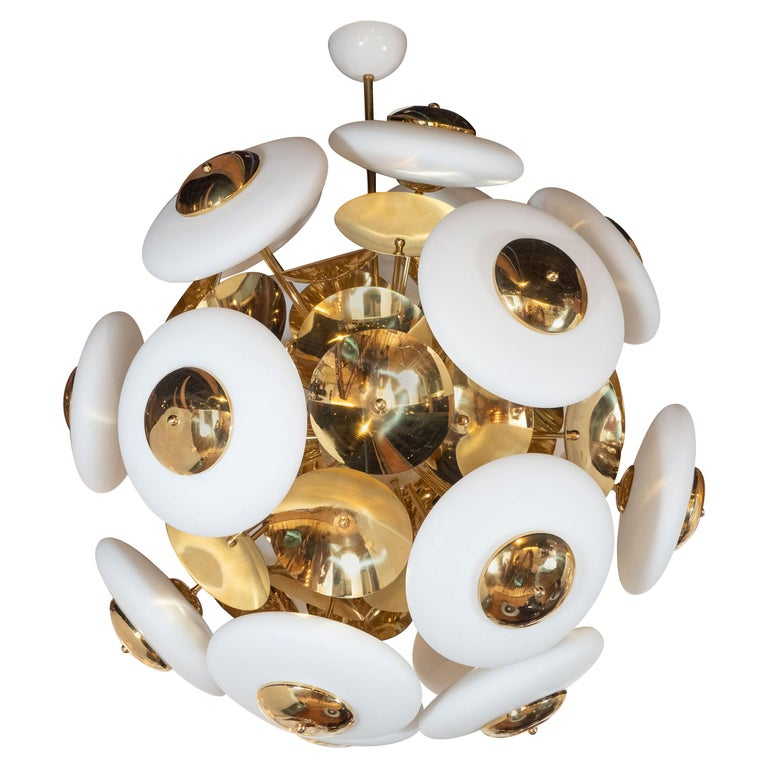 Large White Opaque Glass and Brass Flat Sphere Sputnik Chandelier, Italy, 2019 For Sale