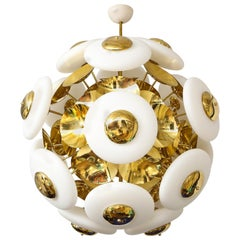Large White Opaque Glass and Brass Sphere Sputnik Chandelier, Italy, 2020