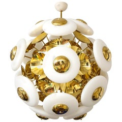Large White Opaque Glass and Brass Sphere Sputnik Round Chandelier, Italy, 2020