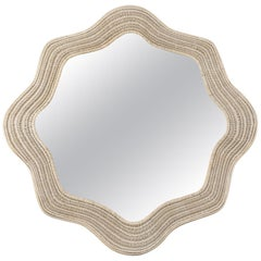 Large White Painted Wicker Mirror, France, circa 1970