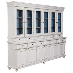 Large White Reproduction Pine Bookcase Display from Hungary