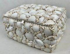 Large White Shell Encrusted Hinged Box