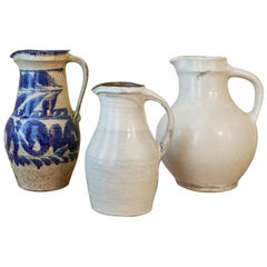 Large White Shussai Pottery Pitcher, Japan, 1990s