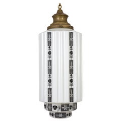 Large White Step Glass Cylinder Deco Pendant with Black Painted Flowers