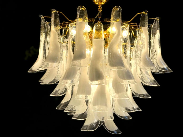 Large White Tulip Petals Murano Chandelier or Ceiling Light For Sale 3