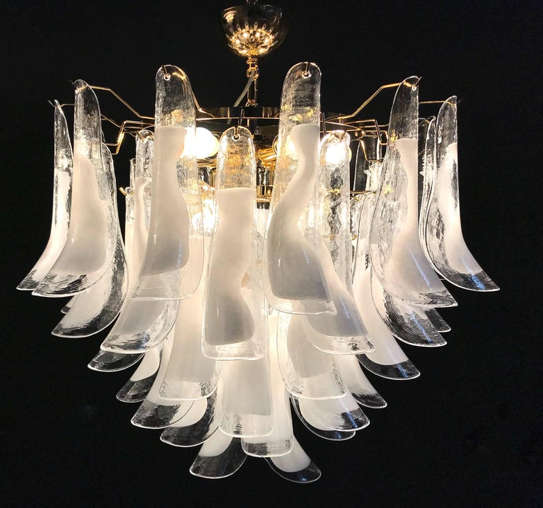 Mid-Century Modern Large White Tulip Petals Murano Chandelier or Ceiling Light For Sale