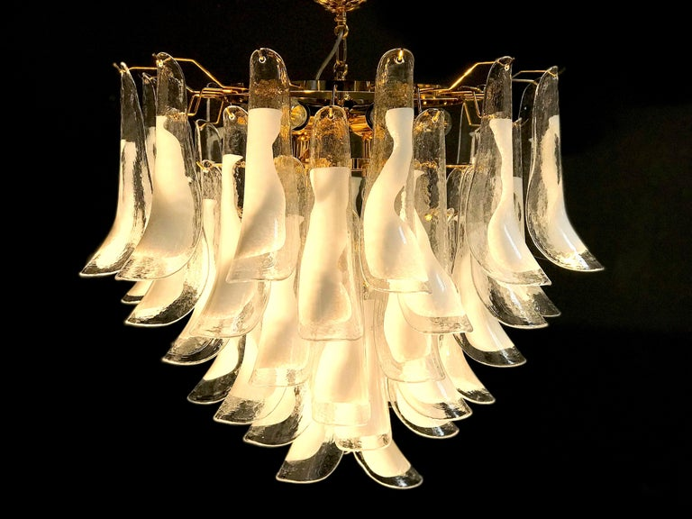 Italian Large White Tulip Petals Murano Chandelier or Ceiling Light For Sale