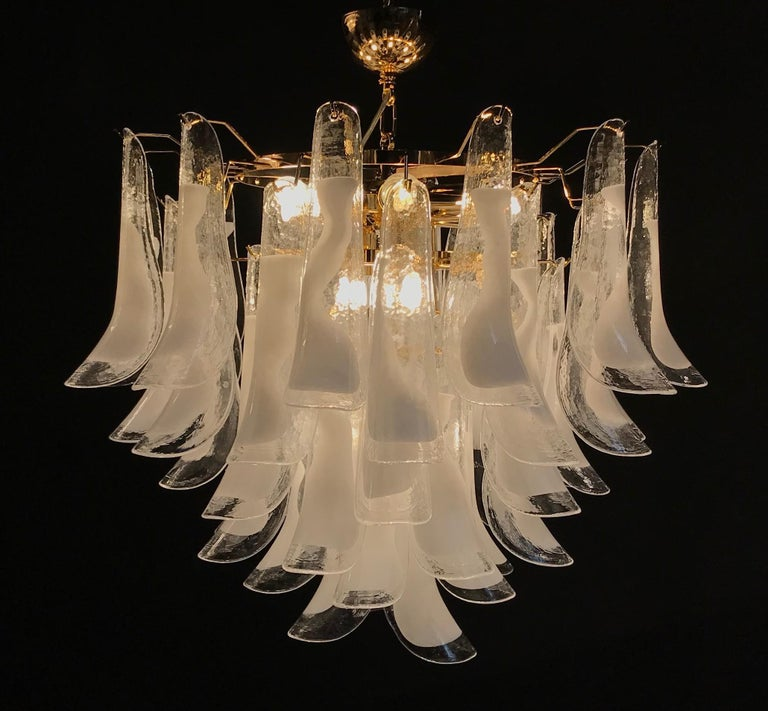 2010s Large White Tulip Petals Murano Chandelier or Ceiling Light For Sale
