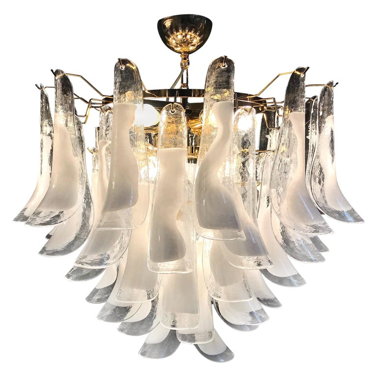 Large White Tulip Petals Murano Chandelier or Ceiling Light For Sale