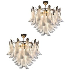 Large White Tulip Petals Murano Chandelier or Ceiling Light