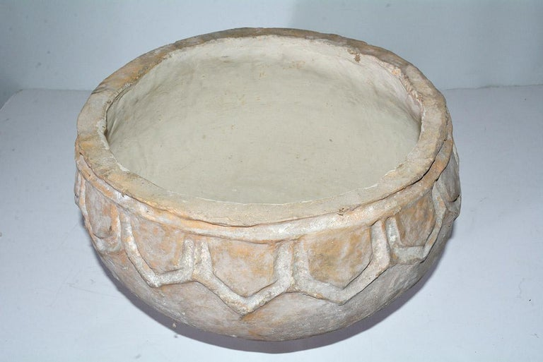 Organic Modern Large White-Washed Papier Mache Pot For Sale
