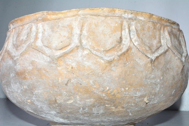 Hand-Crafted Large White-Washed Papier Mache Pot For Sale