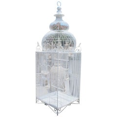 Large White Wrought Iron Bird Cage with Dome