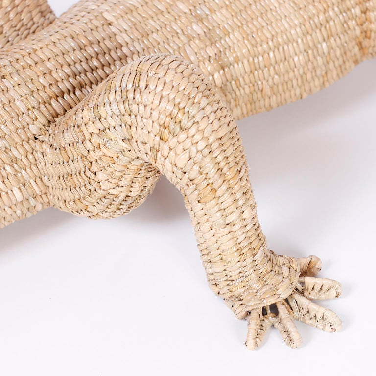 Hand-Woven Large Wicker Alligator For Sale