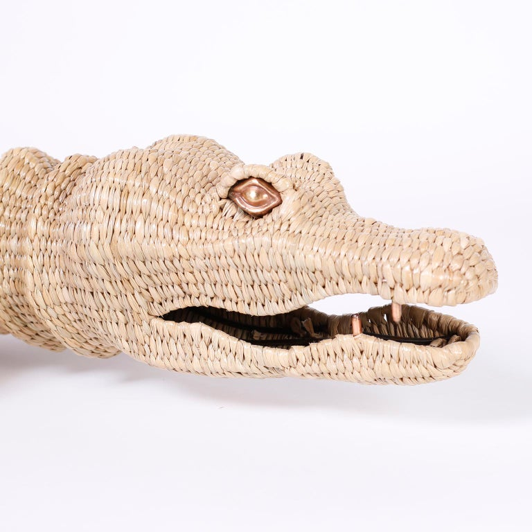 Large Wicker Alligator In Good Condition For Sale In Palm Beach, FL