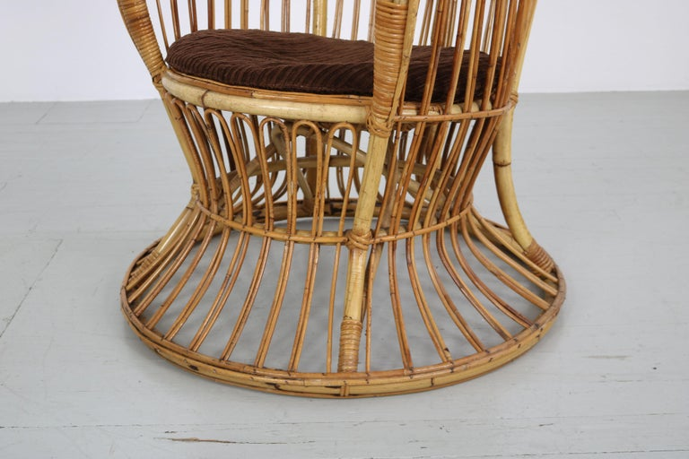 Large Italian Wicker Armchair with High Backrest, 1950s For Sale 3