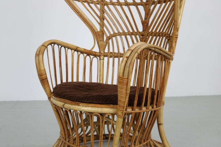 Large Italian Wicker Armchair with High Backrest, 1950s For Sale 4