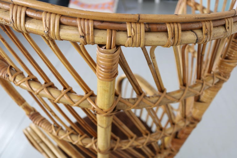 Large Italian Wicker Armchair with High Backrest, 1950s For Sale 6