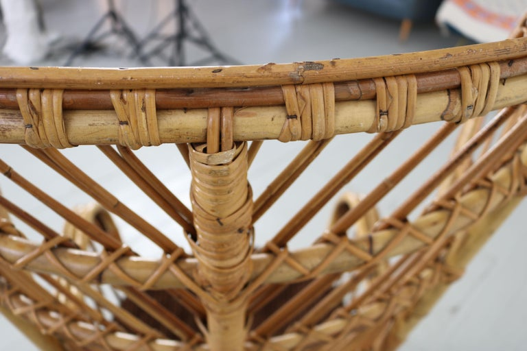 Large Italian Wicker Armchair with High Backrest, 1950s For Sale 7
