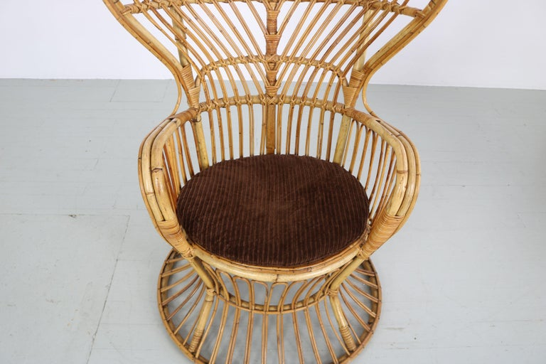 Large Italian Wicker Armchair with High Backrest, 1950s For Sale 10
