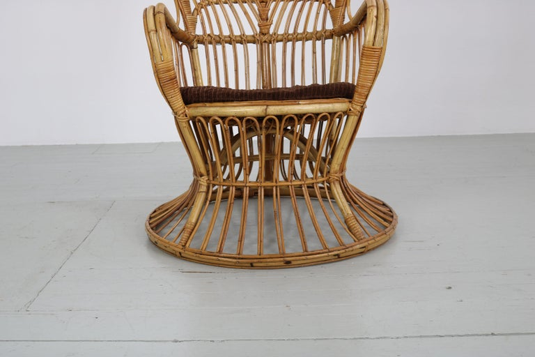 Large Italian Wicker Armchair with High Backrest, 1950s For Sale 11