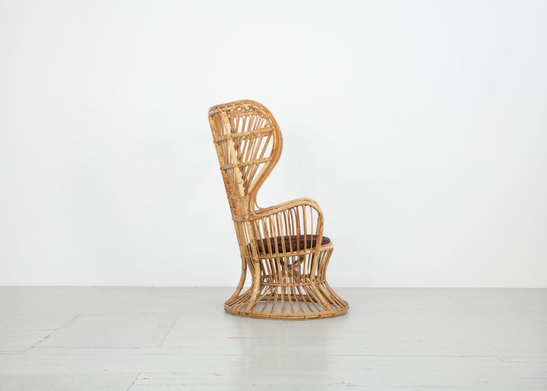 Mid-Century Modern Large Italian Wicker Armchair with High Backrest, 1950s For Sale