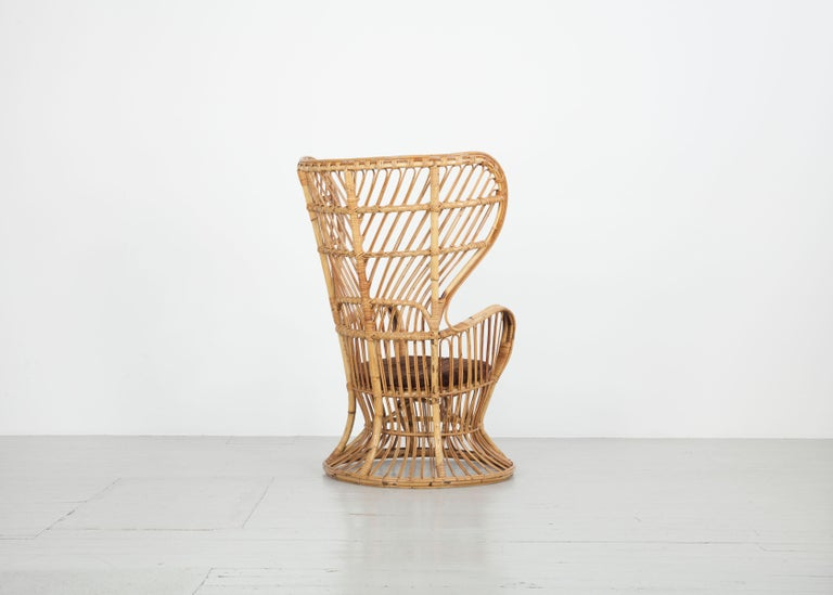 Carved Large Italian Wicker Armchair with High Backrest, 1950s For Sale
