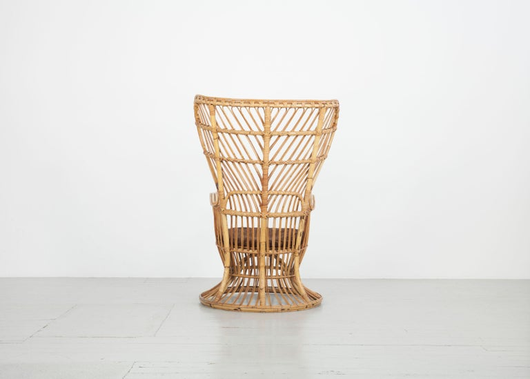 Large Italian Wicker Armchair with High Backrest, 1950s In Good Condition For Sale In Wolfurt, AT
