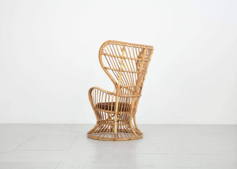 Mid-20th Century Large Italian Wicker Armchair with High Backrest, 1950s For Sale