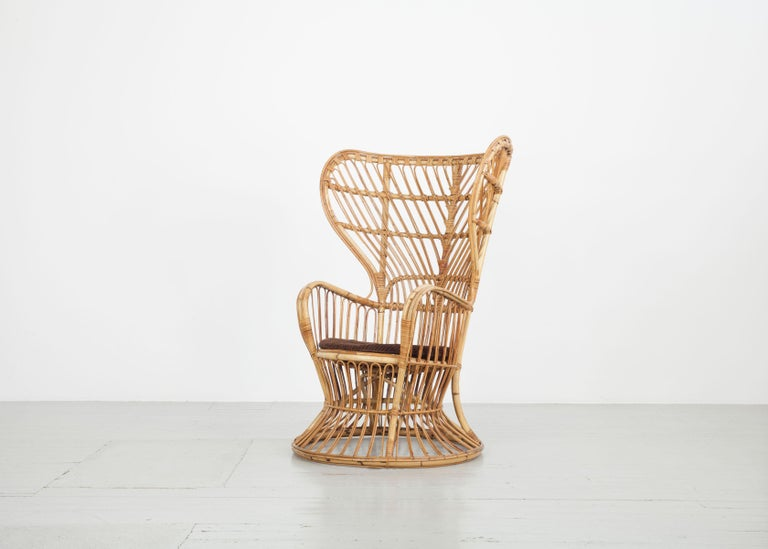 Large Italian Wicker Armchair with High Backrest, 1950s For Sale 1