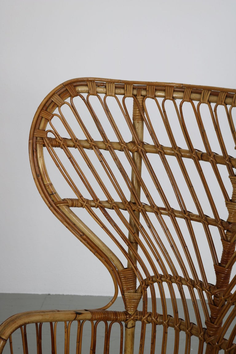 Large Italian Wicker Armchair with High Backrest, 1950s For Sale 2