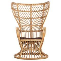 Large Wicker Armchair with High Backrest by Lio Carminati & Gio Ponti, Bonacina