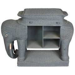 Large Wicker Elephant Console