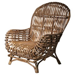 Large Wicker Lounge Chair Attributed to Castano