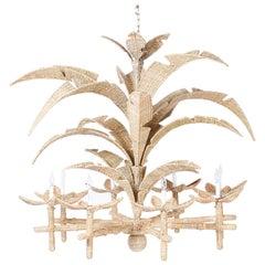 Large Wicker Palm Leaf Chandelier