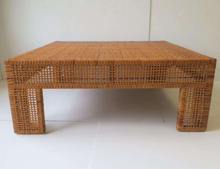 Large Wicker Rattan Coffee Table Circa 1980s For At