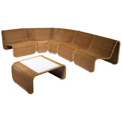 Large Rattan Set by Tito Agnoli for Bonacina