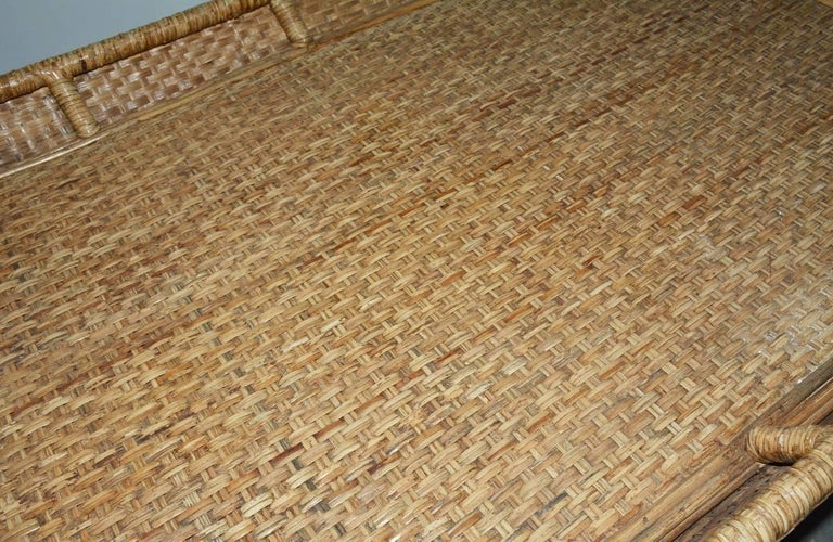 20th Century Large Wicker Tray Coffee Table For Sale