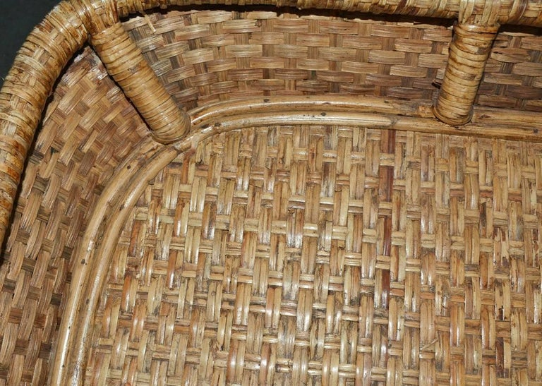 Large Wicker Tray Coffee Table For Sale 1
