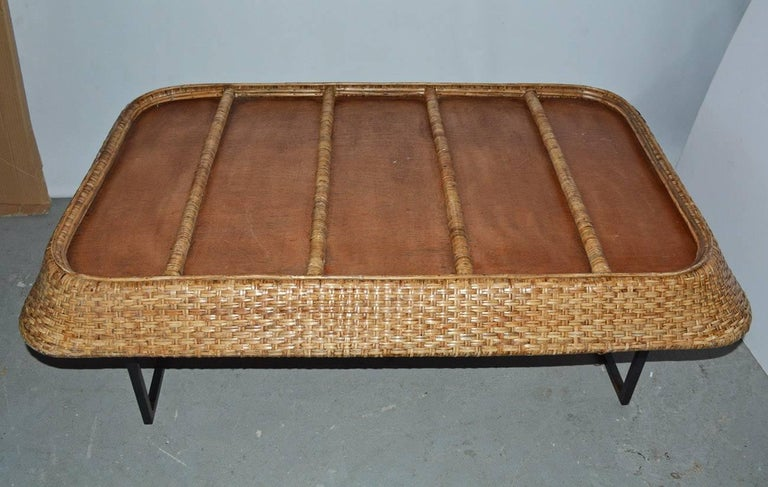 Large Wicker Tray Coffee Table For Sale 4
