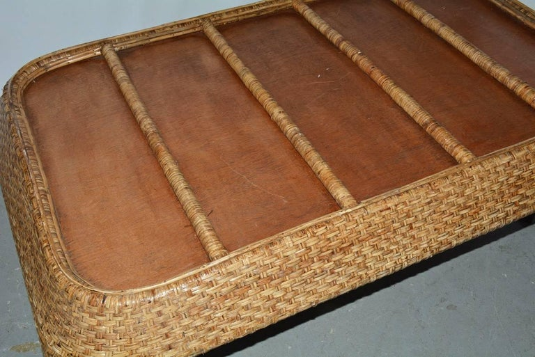 Large Wicker Tray Coffee Table For Sale 5