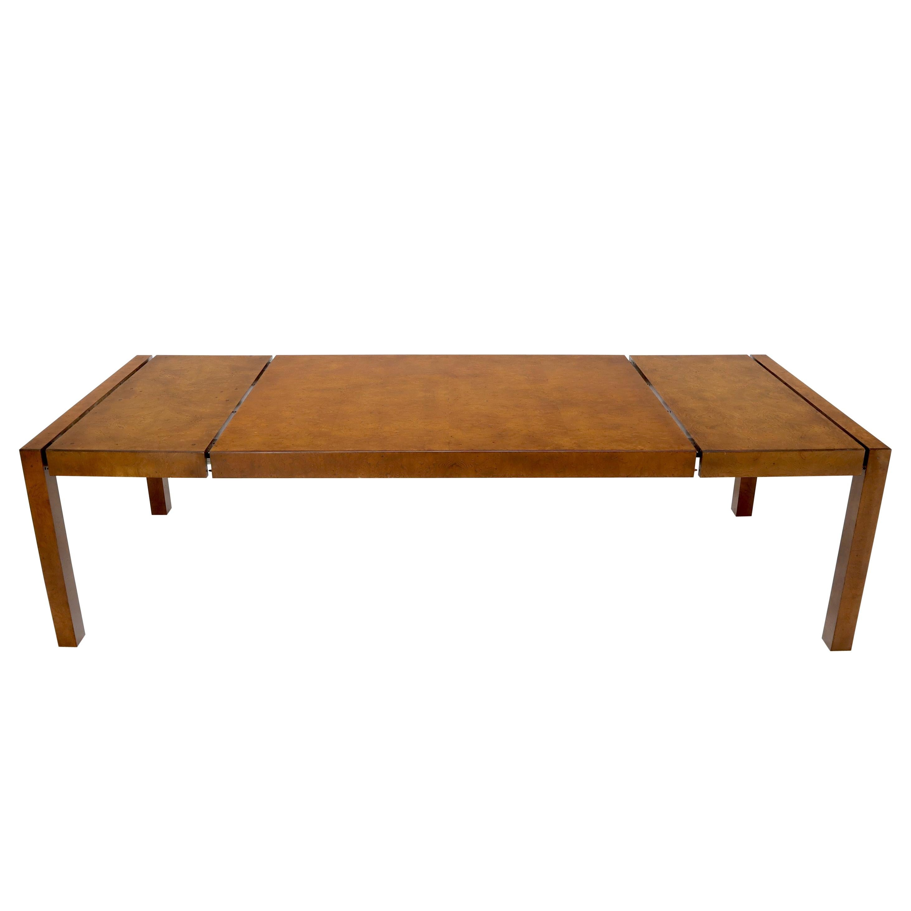 Large John Widdicomb Burl Wood Rectangle Dining Table with Two Leaves