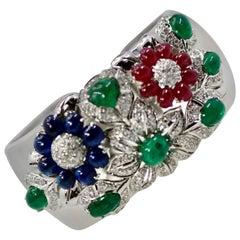 Large Wide Cuff Bracelet 17 Carat Rubies, Emeralds, Sapphires, Diamonds 18 Karat