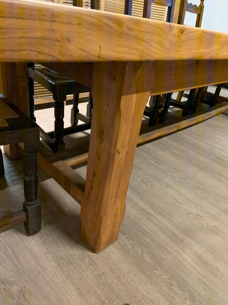 Hand-Crafted Large Wide Pale Elm Farmhouse Table For Sale