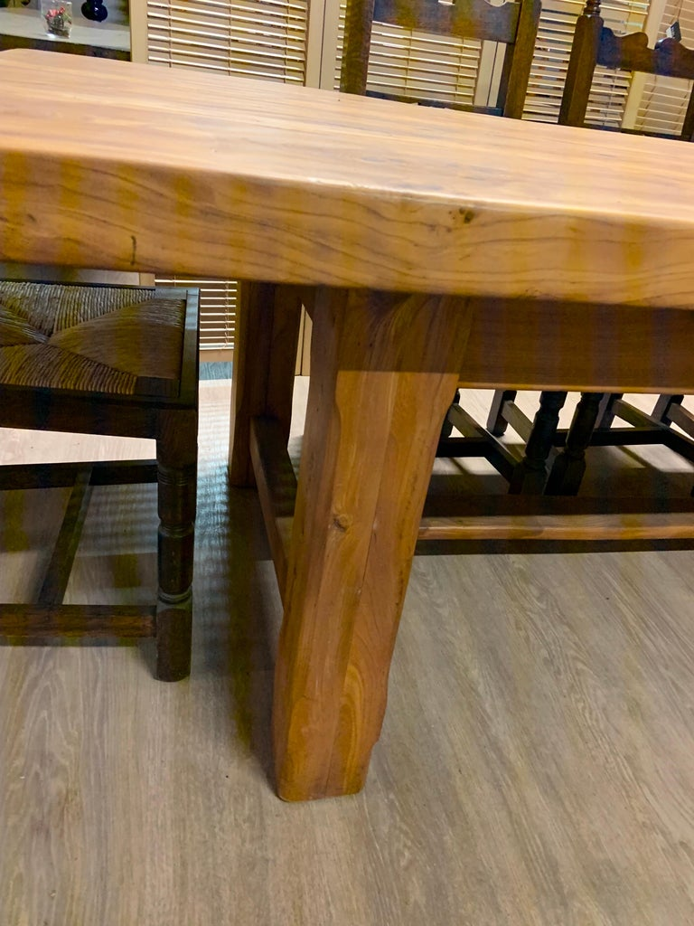 20th Century Large Wide Pale Elm Farmhouse Table For Sale
