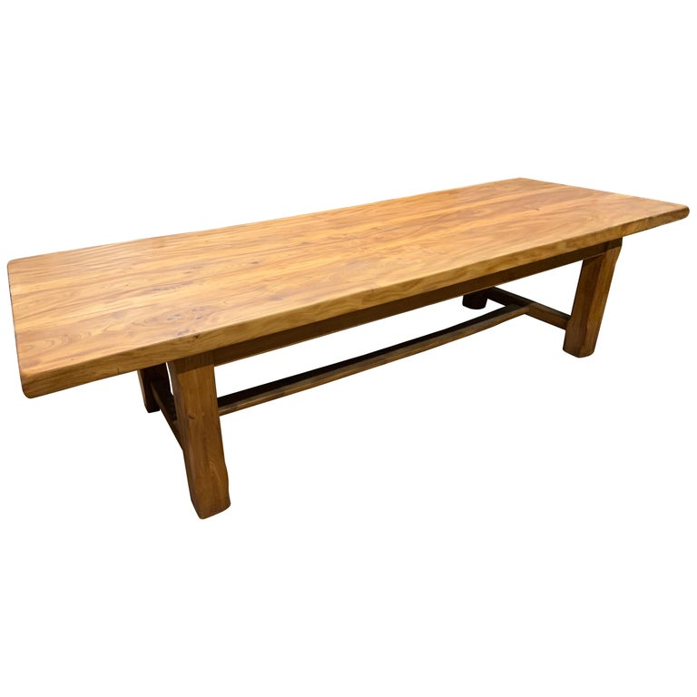Large Wide Pale Elm Farmhouse Table For Sale