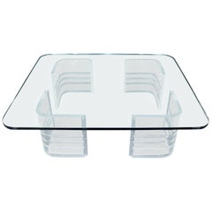 Large Wide Rectangle Rounded Corners Thick Glass Coffee Table