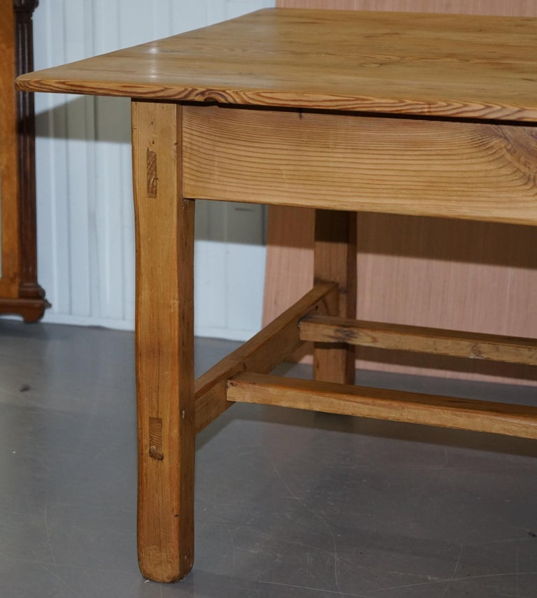 Large Wide Vintage Farmhouse Refectory Dining Table with Twin Stretchers in Pine 3