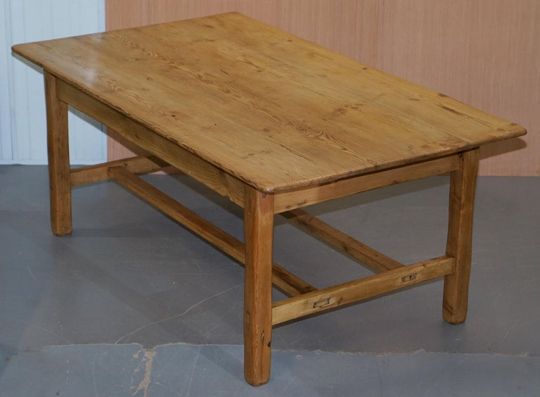 Modern Large Wide Vintage Farmhouse Refectory Dining Table with Twin Stretchers in Pine